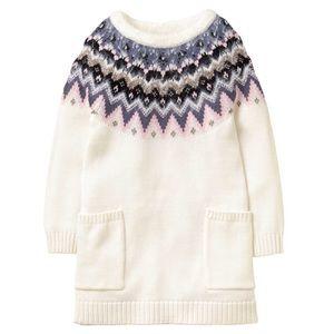 Gymboree 💯 holiday sweater dress cream & pattern